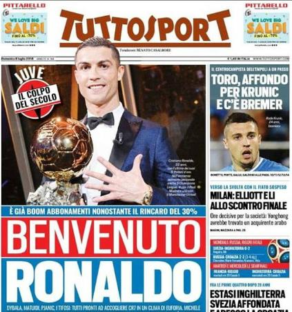 Báo Italy chào đón Ronaldo tới Juventus