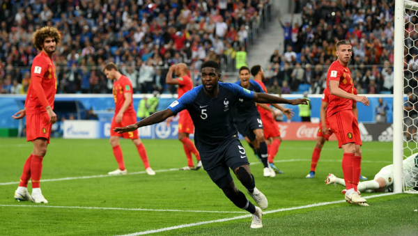 Pha lập công đưa Pháp vào chung kết của Umtiti. Ảnh: FIFA.