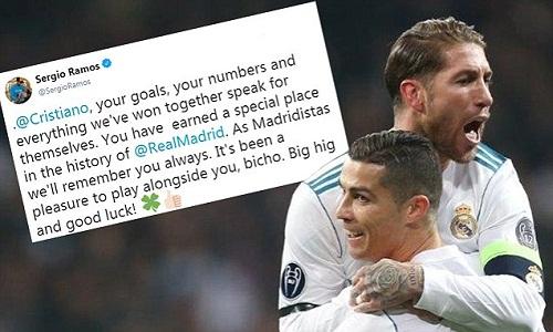Ramos tạm biệt và chúc Ronaldo may mắn không lâu sau khi có tin anh ra đi. Ảnh: Mail Online.