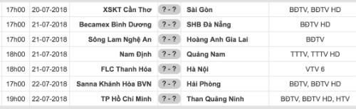 Lịch thi đấu vòng 20 V-League 2018.