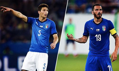 Caldara (trái) và Bonucci đều là tuyển thủ Italy.