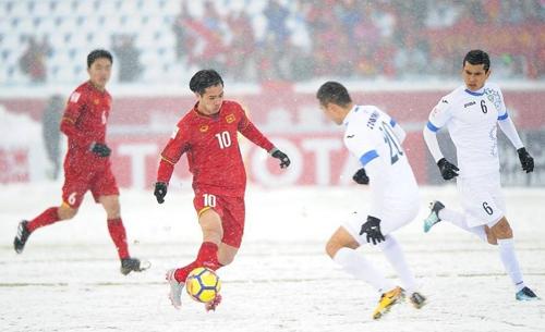 Việt Nam thua Uzbekistan trong trận tranh HC vàng giải U23 châu Á diễn ra vào tháng 1/2018 tại Thường Châu, Trung Quốc.