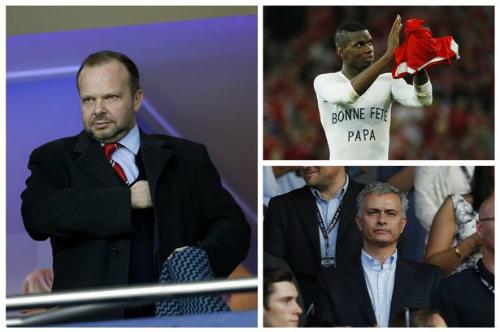 Ed Woodward, Mourinho và Pogba sẽ phải tìm cách dung hòa với nhau. Ảnh:EPA/AFP.