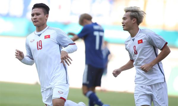 Quang Hải có bàn thắng thứ hai tại Asiad 2018. Anh là người đã ghi bàn đầu tiên cho Việt Nam tại giải đấu này khi mở tỷ số trong trận thắng Pakistan. Ảnh: Đức Đồng.