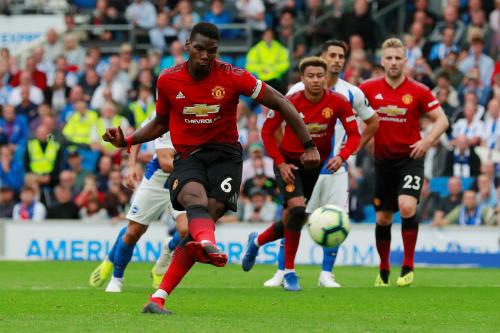Pogba ghi bàn trong hai trận liên tiếp cho Man Utd nhưng lần này không giúp đội bóng có điểm. Ảnh:AFP.