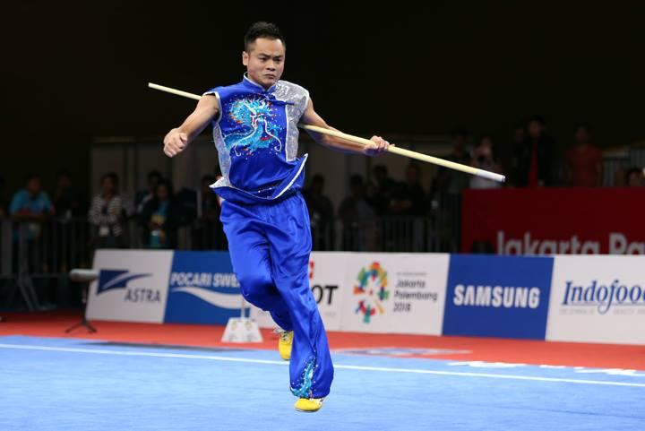 Quốc Khánh thi nam côn, mang về tấm HC bạc thứ hai cho đoàn thể thao Việt Nam tại Asiad 2018. Ảnh: Lâm Thỏa.
