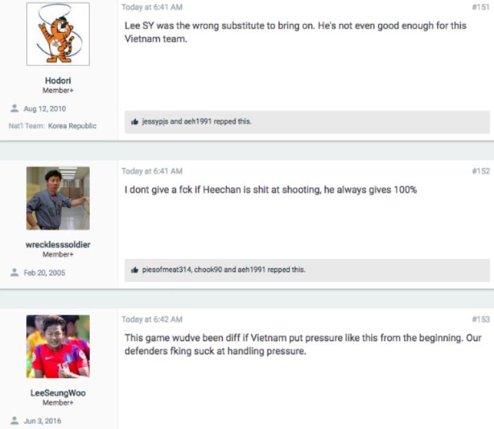 CĐV Hodori cho rằng hậu vệ vào thay người Lee Si-young thậm chí còn không đủ trình độ khoác áo Việt Nam. Ảnh chụp màn hình.
