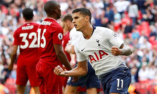 Lamela ghi bàn ở cuối trận, nhưng không thể giúp Tottenham tránh trận thua đầu tiên trước Liverpool tại Wembley. Ảnh: Reuters.