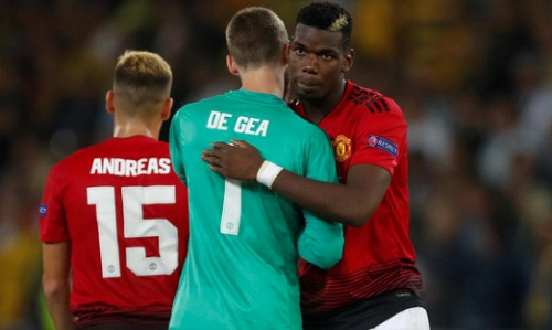 Pogba có trận đấu chói sáng, giúp Man Utd thắng dễ trên đất Thụy Sỹ. Ảnh: Reuters.