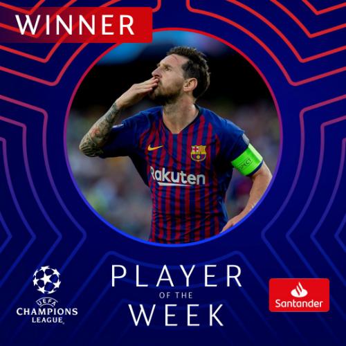 Messi có hat-trick thứ tám ở Champions League, vượt qua Cristiano Ronaldo. Ảnh: UEFA.