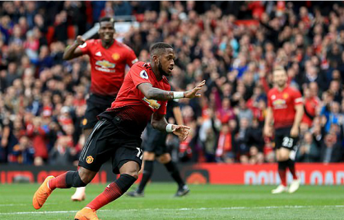 Tình huống ghi bàn của Fred là điểm sáng hiếm hoi bên phía Man Utd. Ảnh: AFP.