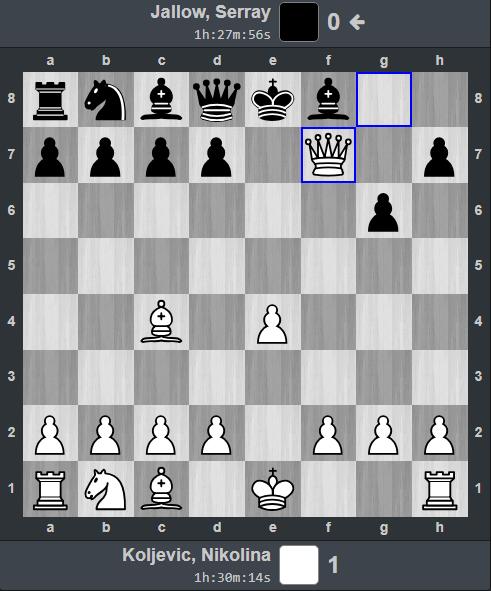 Thế cờ sau nước thứ chín. Biên bản ván đấu: 1. e4 e5 2. Nf3 Bc5 3. Bc4 f6 4. Nxe5 fxe5 5. Qh5+ g6 6. Qxe5+ Ne7 7. Qxh8+ Ng8 8. Qxg8+ Bf8 9. Qf7# 1-0
