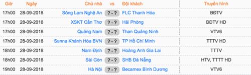 Lịch thi đấu vòng 24 V-League 2018.