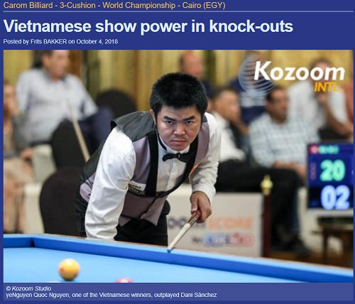 Kozoom dành riêng bài báo về sự áp đảo của các tay cơ Việt Nam. Ảnh chụp màn hình.