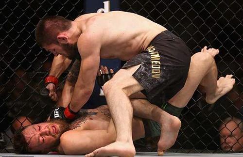 Khabib liên tục dồn McGregor vào cạnh lưới và sử dụng các đòn khóa, siết với đối thủ. Ảnh: LLC.