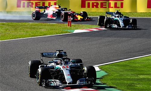 Hamilton và Bottas dễ dàng chiếm hai vị trí nhất và nhì tại Suzuka, nơi các tay đua của Ferrari tiếp tục thi đấu kém xa kỳ vọng. Ảnh: SuperSport.