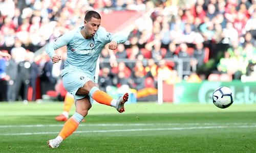 Hazard ghi bàn thứ 7 của anh tại Ngoại hạng Anh mùa này. Ảnh: Reuters.