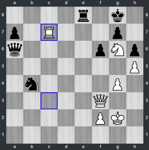 Thế cờ sau 39.Rc7. Đen có hai lựa chọn để ngăn 40.Rb3. Đó là 39...Qe6 hoặc 39...Qa2.