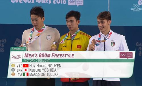 Huy Hoàng nhận HC vàng sau phần thi tại Olympic trẻ diễn ra ở Argentina sáng 12/10.