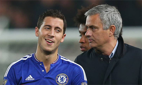 Hazard và Mourinho có thể tái hợp tại Real Madrid trong tương lai không xa. Ảnh: AS.