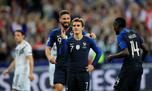 Griezmann giúp Pháp lội ngược dòng thành công và đẩy đội tuyển Đức vào sâu hơn khủng hoảng. Ảnh:AFP.