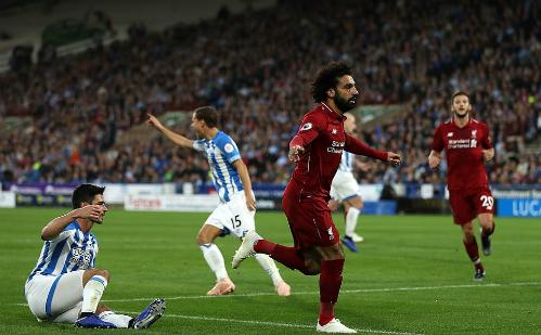 Salah ghi bàn thắng thứ 50 cho các đội bóng Anh. Ảnh: AFP.