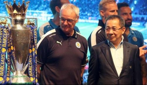 Ông Vichai bên cạnh HLV Ranieri sau chiến tích vô địch Ngoại hạng Anh. Ảnh: AFP.