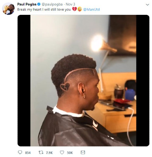 Pogba đăng ảnh khoe tóc mới trên Twitter.