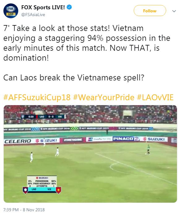 Fox Sports bất ngờ với sự vượt trội của Việt Nam trước Lào: Nhìn vào những con số kia mà xem. Việt Nam đang lấn lướt đối thủ ngay đầu trận với tỷ lệ kiểm soát bóng 94%. Đó mới là áp đảo. Liệu Lào có thể phá vỡ thế áp đảo này không?.