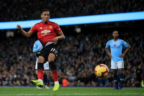 Martial ghi bàn trận thứ năm liên tiếp tại Ngoại hạng Anh nhưng Man Utd trắng tay rời Etihad. Ảnh:AFP.
