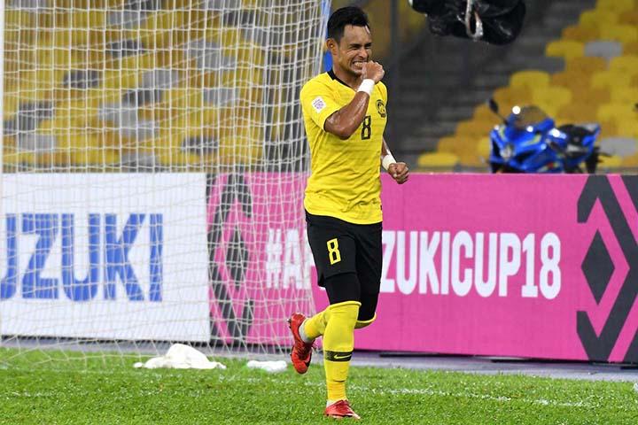 Bộ đôi tiền đạo Radzak (số 8) và Talaha (số 9) là những mũi nhọn nguy hiểm nhất của Malaysia ở AFF Cup 2018. Ảnh: AFF.
