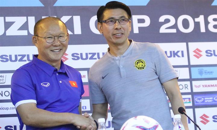 HLV Park Hang-seo không tin đồng nghiệp Tan Cheng Hoe chủ hòa tại Mỹ Đình. Ảnh: Lâm Thỏa.