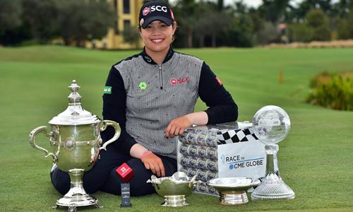 Ariya giành một triệu đôla tiền thưởng sau khi trở thành golfer hay nhất mùa giải LPGA Tour 2018. Ảnh: Race to CME Globe.