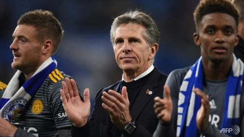 HLV Puel và các cầu thủ Leicester sẽ ra sân ở Ngoại hạng Anh cuối tuần này trước Brighton. Ảnh:AFP.
