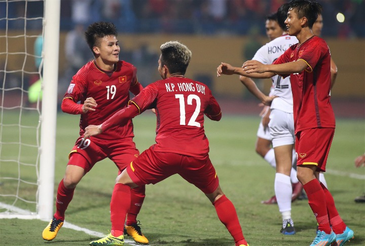 Quang Hải ghi một bàn và kiến tạo một lần, trong chiến thắng của Việt Nam. Ảnh: Lâm Thoả.