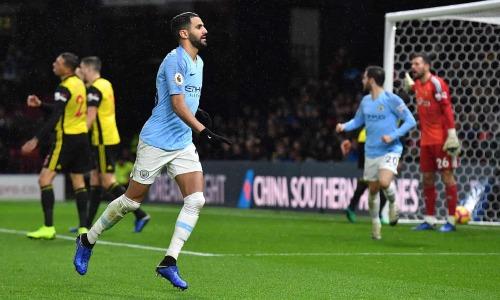 Mahrez tỏa sáng giúp Man City củng cố vị trí dẫn đầu Ngoại hạng Anh. Ảnh:Reuters.