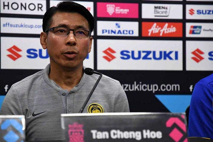 Tan Cheng Hoe bóng gió về việc sẽ tiếp tục tấn công Thái Lan ở bán kết lượt về. Ảnh: AFF.