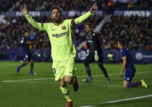 Messi khiến Levante chịu thất bại nặng nề.