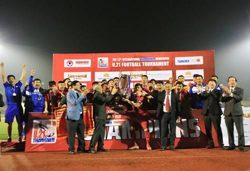 U21 Việt Nam trở tahnhf nhà tân vô địch giải U21 quốc tế Báo Thanh Niên. Ảnh: Võ Thạnh