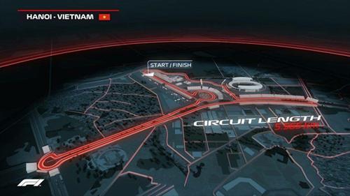Sơ đồ đường đua dự kiến do ban tổ chức F1 cung cấp.