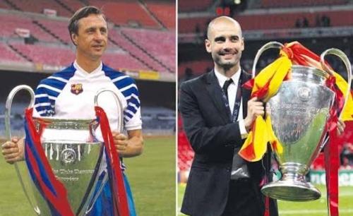 Sự ủng hộ của Cruyff (trái) với người học trò cũ giúp Guardiola vượt mặt Mourinho.