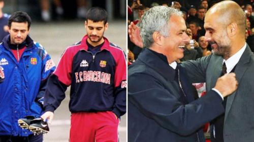 Mourinho và Pep Guardiola từ những người bạn thời ở Barca tới hai huấn luyện viên hàng đầu thế giới. Ảnh: Marca/ AFP.