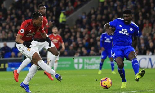 Martial ghi bàn nâng tỷ số lên 3-1 sau hàng loạt pha đập nhả đẹp mắt của Man Utd. Ảnh: AP.