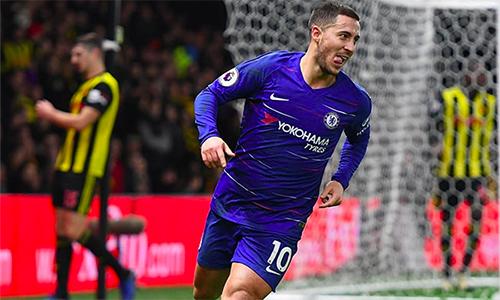 Hazard đã có 101 bàn trên mọi mặt trận cho Chelsea. Ảnh: REX.