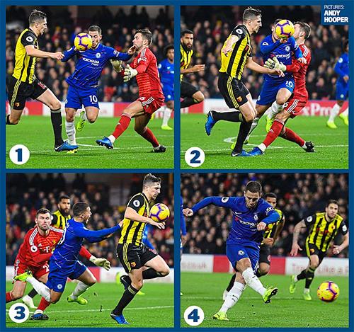 Tình huống dẫn đến bàn ấn định tỷ số 2-1 từ chấm phạt đền của Hazard. Ảnh: AH.