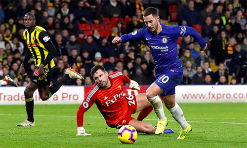 Hazard là khác biệt lớn nhất giúp Chelsea thắng trận trên sân khách hôm 26/12. Ảnh: Actions Image.