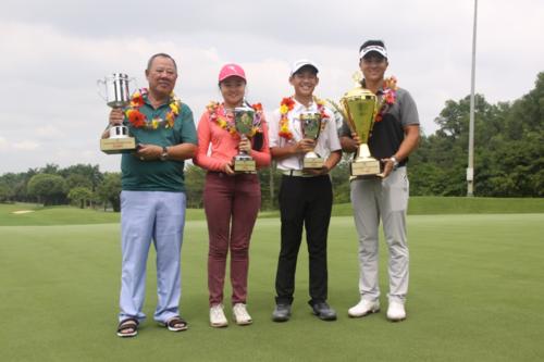 Lần lượt từ trái qua là golfer Ngô Duy Hải, Hanako, Quang Anh và Duy Nhất. Ảnh: Hữu Nghĩa.