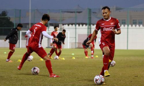Việt Nam đang tập huấn ở Doha (Qatar) chuẩn bị cho Asian Cup. Ảnh: VFF.