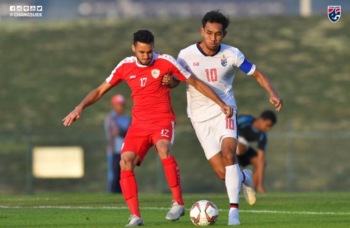 Teerasil Dangda (áo trắng) không thể đánh bại hàng thủ Oman trong trận giao hữu trước Asian Cup. Ảnh: Changsuek.