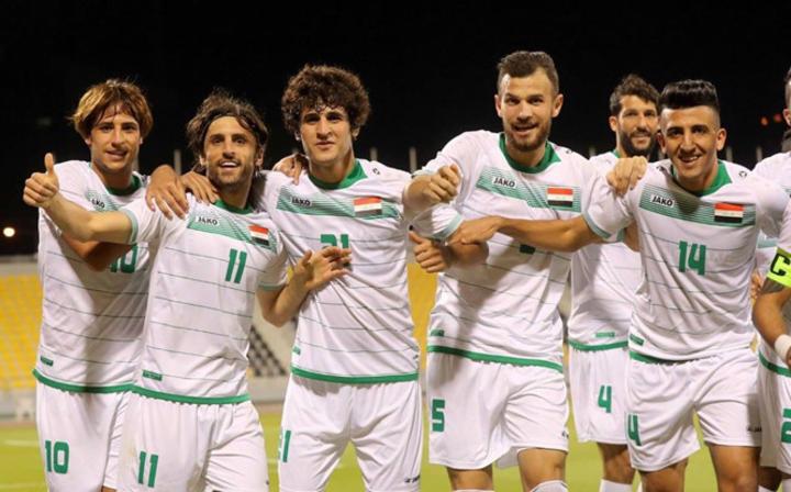 Đội tuyển Iraq mừng chiến thắng trong trận giao hữu với Palestine trước thềm Asian Cup 2019.